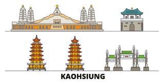 Illustrazione piana di vettore dei punti di riferimento di Taiwan, Kaohsiung Linea città con le viste famose di viaggio, orizzont illustrazione di stock