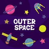 Illustrazione piana di vettore del fumetto con un'astronave Spazio cosmico illustrazione di stock