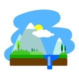 Illustrazione piana di vettore del paesaggio di estate Fotografia Stock Libera da Diritti