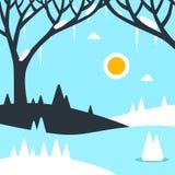 Illustrazione piana di vettore del paesaggio di inverno fotografia stock libera da diritti