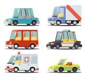 Illustrazione piana di vettore del retro fumetto alla moda di progettazione dell'icona del veicolo dell'automobile di trasporto illustrazione vettoriale