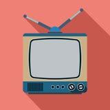 Illustrazione piana di vettore del retro set televisivo Fotografia Stock Libera da Diritti
