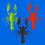 Illustrazione piana di vettore dell'aragosta isolata su fondo blu Icona piana dei frutti di mare freschi Immagine Stock