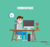 Illustrazione piana di vettore dell'area di lavoro del carattere di progettazione moderna Immagine Stock