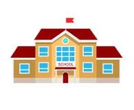 Illustrazione piana di vettore dell'edificio scolastico, Fotografia Stock
