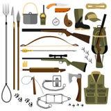 Illustrazione piana di vettore dell'equipaggiamento da caccia e delle armi Immagine Stock Libera da Diritti