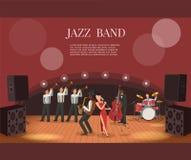 Illustrazione piana di vettore della banda di musica di jazz con i musicisti in scena Fotografia Stock
