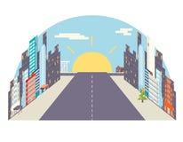 Illustrazione piana di vettore della città Immagini Stock Libere da Diritti