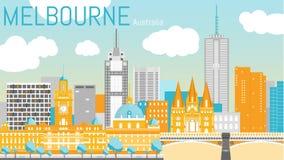 Illustrazione piana di vettore della città di Melbourne Immagini Stock