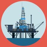 Illustrazione piana di vettore della piattaforma petrolifera Fotografia Stock Libera da Diritti