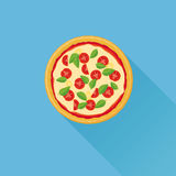 Illustrazione piana di vettore della pizza Fotografie Stock Libere da Diritti