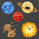 Illustrazione piana di vettore della stella di scienza della galassia di astronomia dell'universo dei pianeti dello spazio del si illustrazione di stock
