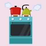 Illustrazione piana di vettore della stufa di cucina Fotografia Stock Libera da Diritti