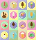 Illustrazione piana di vettore delle icone del gelato Immagini Stock