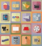 Illustrazione piana di vettore delle icone delle icone piane del cinema Fotografia Stock Libera da Diritti