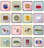 Illustrazione piana di vettore delle icone di consegna Fotografia Stock Libera da Diritti