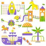 Illustrazione piana di vettore di attività del parco del gioco di infanzia di divertimento del campo da giuoco dei bambini Fotografie Stock Libere da Diritti