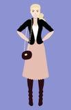 Illustrazione piana di vettore di bella giovane donna con capelli blondy Giovane donna vestita nello stile casuale Fotografie Stock Libere da Diritti