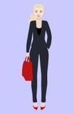 Illustrazione piana di vettore di bella giovane donna con capelli blondy Giovane donna vestita nello stile di affari Immagine Stock Libera da Diritti