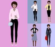 Illustrazione piana di vettore di bella giovane donna con capelli scuri Giovane donna vestita nello stile di affari e casuale Immagini Stock Libere da Diritti