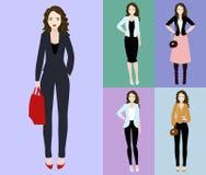 Illustrazione piana di vettore di bella giovane donna con capelli scuri Giovane donna vestita nello stile di affari e casuale Fotografia Stock Libera da Diritti