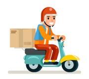 Illustrazione piana di vettore di progettazione isolata concetto dell'icona di Scooter Symbol Box del corriere di consegna Fotografia Stock