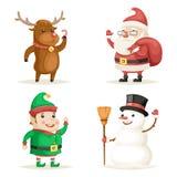 Illustrazione piana di vettore di progettazione messa icone di anno di Santa Claus Cartoon Characters Christmas New del pupazzo d Immagine Stock Libera da Diritti
