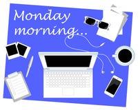 Illustrazione piana di vettore di stile della prima colazione di affari lunedì mattina con il posto per testo Immagine Stock