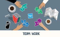 Illustrazione piana di vettore di Team Work Fotografia Stock Libera da Diritti