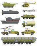 Illustrazione piana di vettore di tecnica dell'armatura militare di trasporto Immagini Stock Libere da Diritti