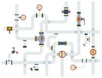 Illustrazione piana di vettore di vettore degli articoli di concetto di riserva della rete di tubazioni Fotografia Stock Libera da Diritti