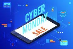illustrazione piana di vettore di progettazione lunedì di vendita di 3d dello smartphone dell'ologramma del testo online cyber is royalty illustrazione gratis