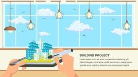 Illustrazione piana di vettore di progettazione di progetto di costruzione illustrazione di stock