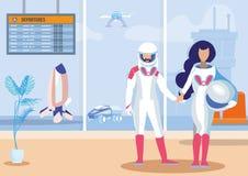 Illustrazione piana di vettore di viaggi nello spazio futuristici illustrazione vettoriale