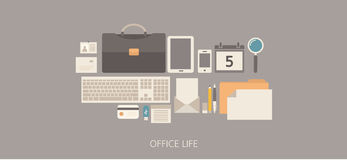 Illustrazione piana di vita moderna e classica dell'ufficio Fotografia Stock