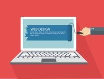 Illustrazione piana di web design Mano con il computer portatile della pittura del rullo Fotografie Stock Libere da Diritti