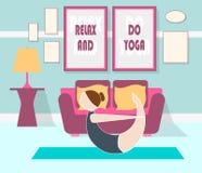 Illustrazione piana di yoga a casa Fotografie Stock