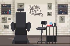Illustrazione piana interna di vettore dello studio del tatuaggio illustrazione vettoriale