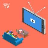 Illustrazione piana isometrica di vettore del cellulare TV Fotografie Stock