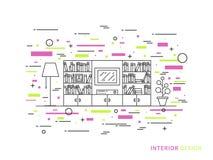 Illustrazione piana lineare di interior design Fotografie Stock Libere da Diritti