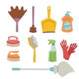 Illustrazione piana liquida di vettore di lavoro domestico della bottiglia della pulitrice del prodotto di cura del lavaggio di p Fotografia Stock