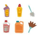 Illustrazione piana liquida di vettore di lavoro domestico della bottiglia della pulitrice del prodotto di cura del lavaggio di p Immagine Stock