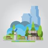 Illustrazione piana moderna del parco di progettazione illustrazione di stock