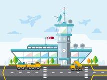 Illustrazione piana moderna di vettore di progettazione dell'aeroporto Immagini Stock Libere da Diritti