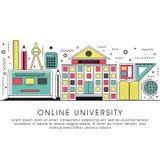 Illustrazione piana per l'università online Fotografia Stock
