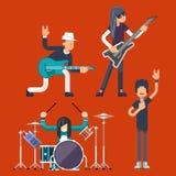 Illustrazione piana piega pesante di vettore di progettazione di Cantante Bassist Drummer Concept del chitarrista delle icone di  Illustrazione di Stock