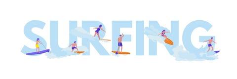 Illustrazione piana praticante il surfing di vettore con iscrizione illustrazione vettoriale