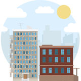 Illustrazione piana rotonda di vettore dell'icona del paesaggio di giorno della proprietà urbana della città Fotografia Stock Libera da Diritti