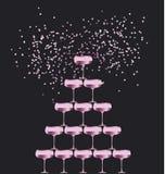 Illustrazione piana scintillante di vettore della piramide di vetro del champagne di Rosa illustrazione vettoriale
