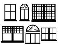 Illustrazione piana stabilita di stile di progettazione dell'icona della finestra Fotografia Stock